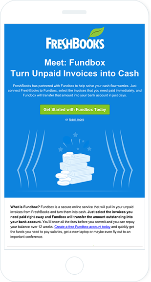 Email Marketing - Freshbooks Mobile Announcement Email