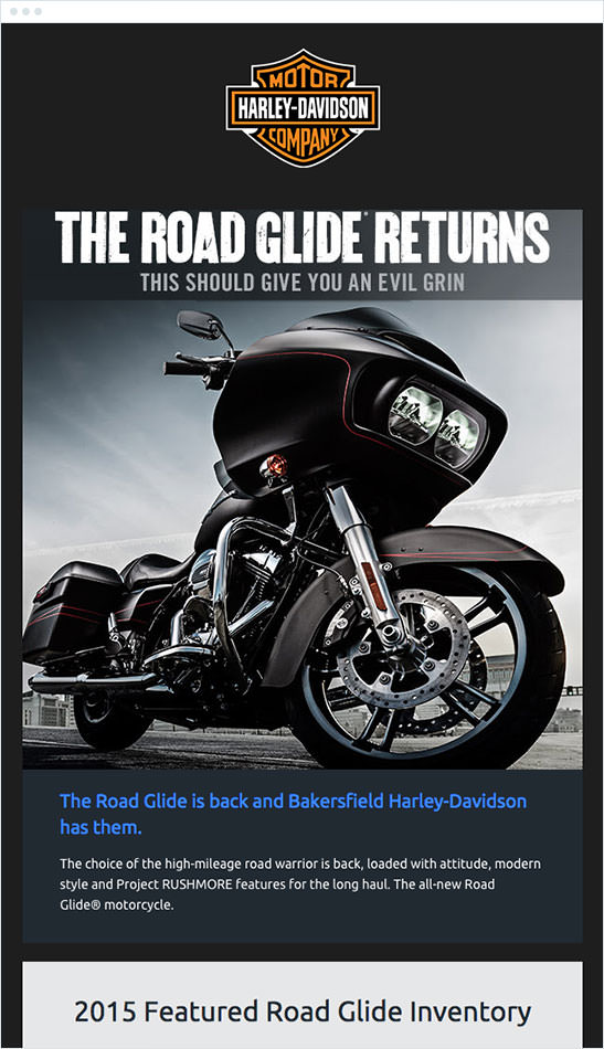 Email Marketing - Harley Davidson Announcement Email