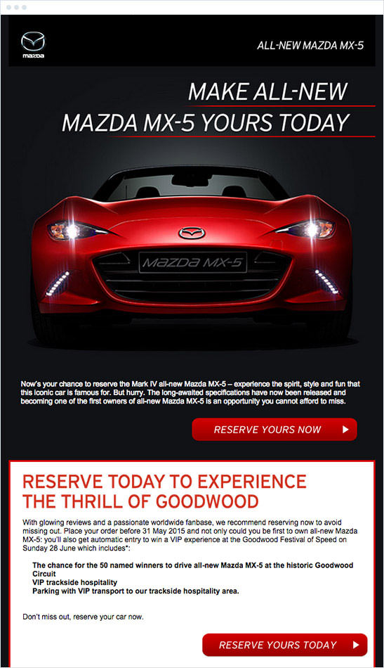 Email Marketing - Mazda Announcement Email