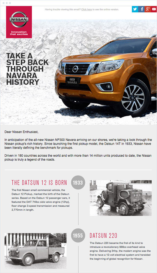 Email Marketing - Nissan Announcement Email