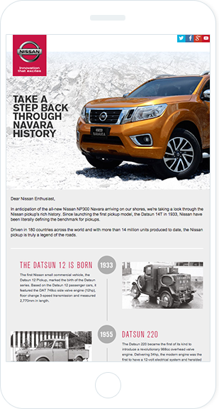 Email Marketing - Nissan Mobile Announcement Email
