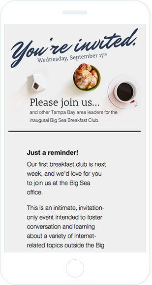 Email Marketing - Big Sea Design Agency Mobile Event Email
