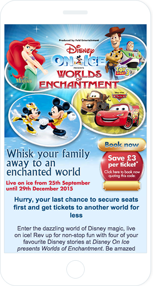 Email Marketing - Disney on Ice Mobile Event Email
