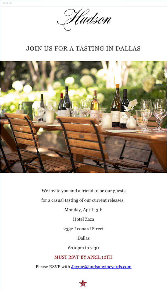 Email Marketing - Hudson Ranch and Vineyard Event Email