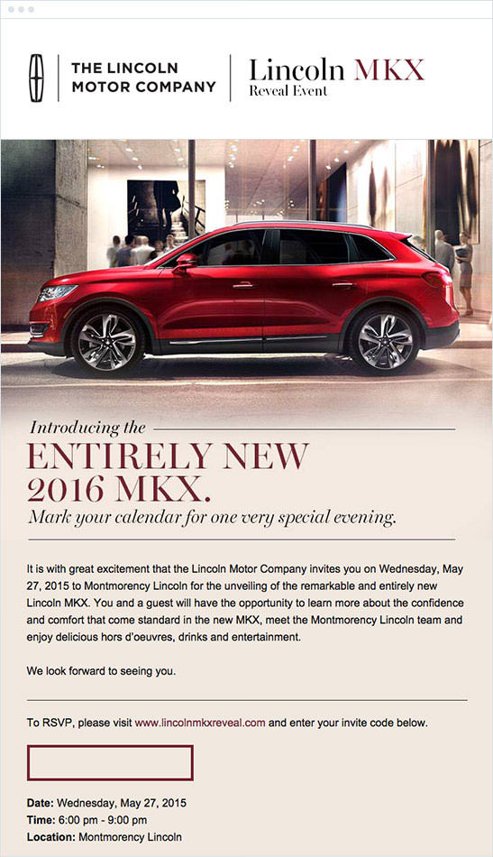 Email Marketing - Lincoln Motor Company Event Email