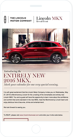 Email Marketing - Lincoln Motor Company Mobile Event Email