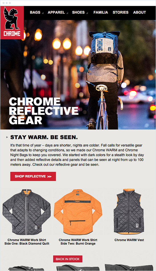Email Marketing - Chrome Industries Marketing Offers Email
