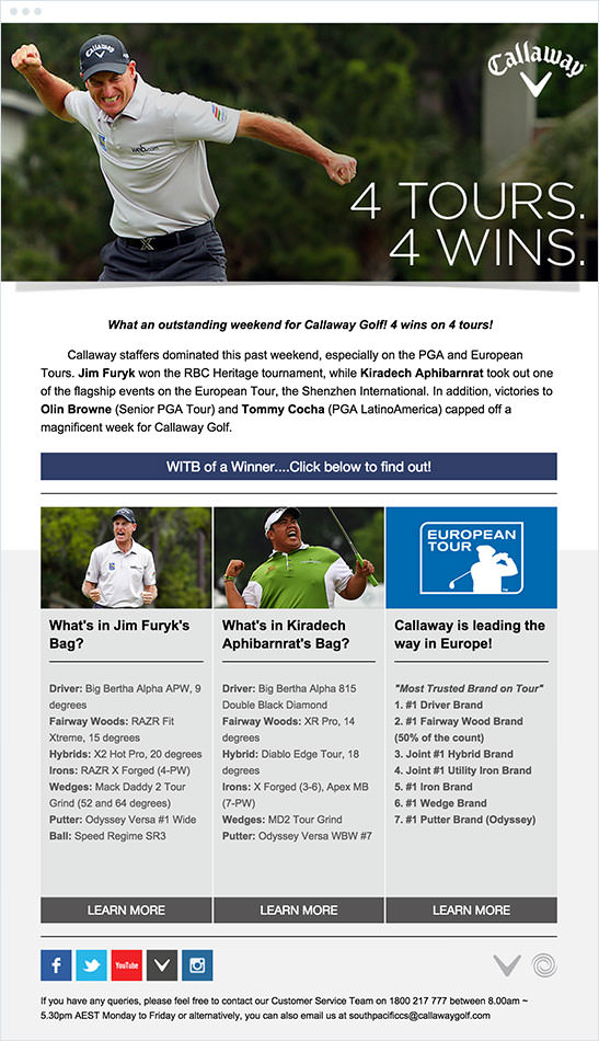 Email Marketing - Callaway Golf Email Newsletter