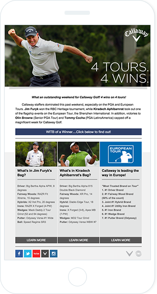Email Marketing - Callaway Golf Mobile Email Newsletter
