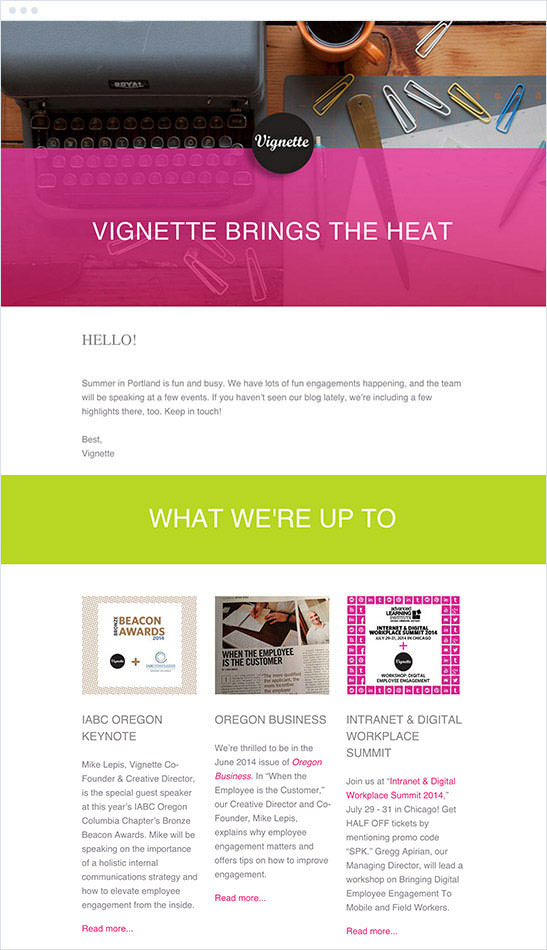 Email Marketing - Vignette Agency Email Newsletter