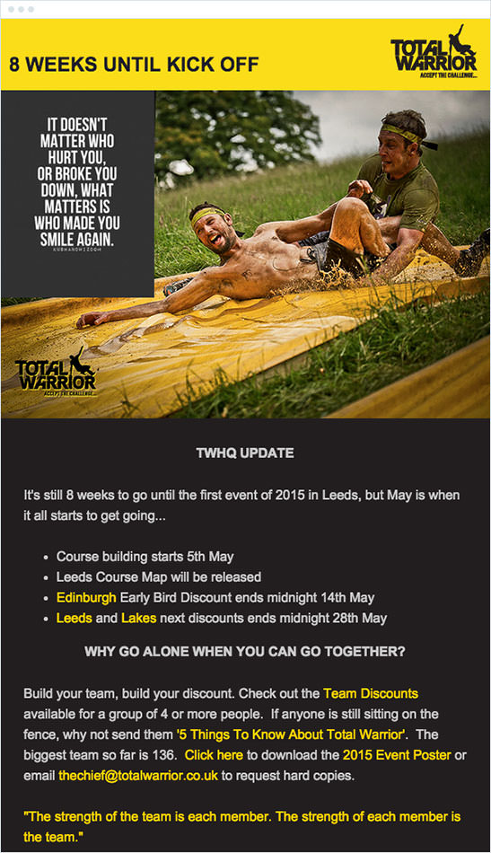 Email Marketing - Total Warrior Email Newsletter