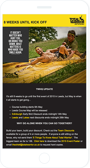 Email Marketing - Total Warrior Mobile Email Newsletter