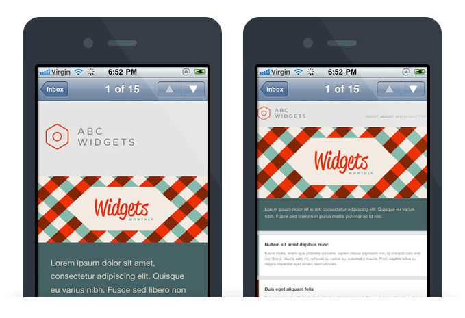 Mobile Email Design - Before & After - Apple IPhone Mail